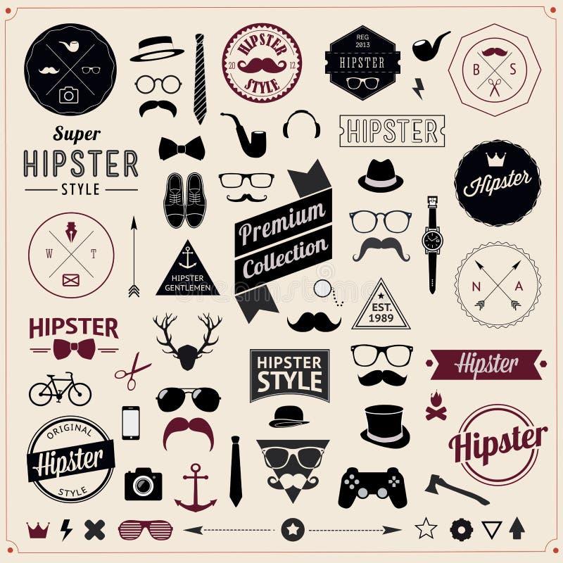 Satz Weinlese angeredete Design Hippie-Ikonen. Vektor