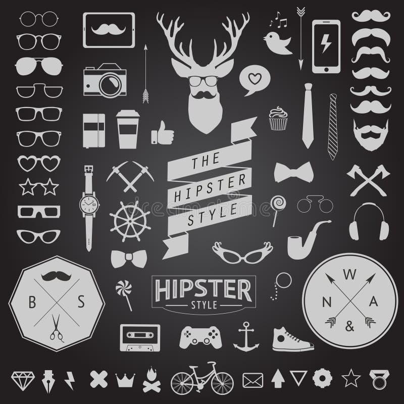 Satz Weinlese angeredete Entwurf Hippie-Ikonen Vektorzeichen und Symbolschablonen stock abbildung