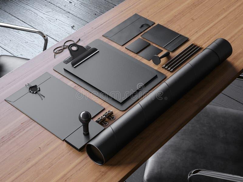 Satz Weinlese blanc Elemente auf dem Tisch 3d lizenzfreie stockfotografie
