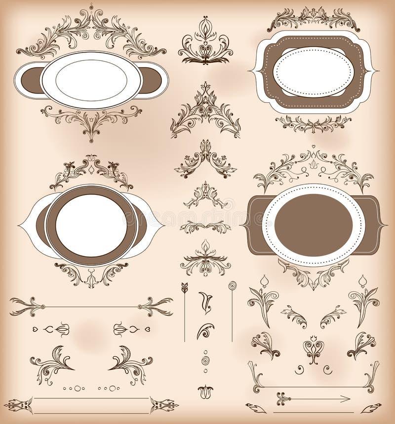 Satz Weinlese-Dekorations-Elemente Barocke Verzierungen und Rahmen vektor abbildung