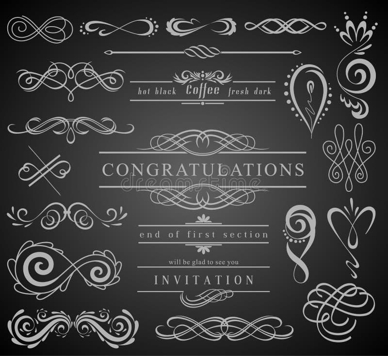 Satz Weinlese-Dekorations-Elemente Flourishes-kalligraphische Verzierungen und Felder mit Platz für Ihren Text Retro- Art lizenzfreie abbildung