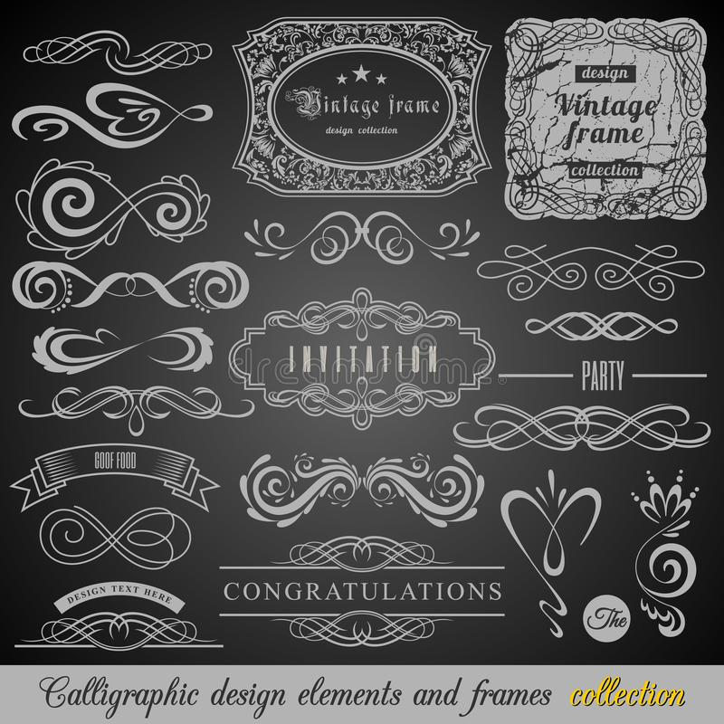 Satz Weinlese-Dekorations-Elemente Flourishes-kalligraphische Verzierungen und Felder mit Platz für Ihren Text Retro- Art vektor abbildung