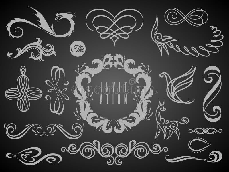 Satz Weinlese-Dekorations-Elemente Flourishes-kalligraphische Verzierungen und Felder mit Platz f?r Ihren Text Retro- Art vektor abbildung