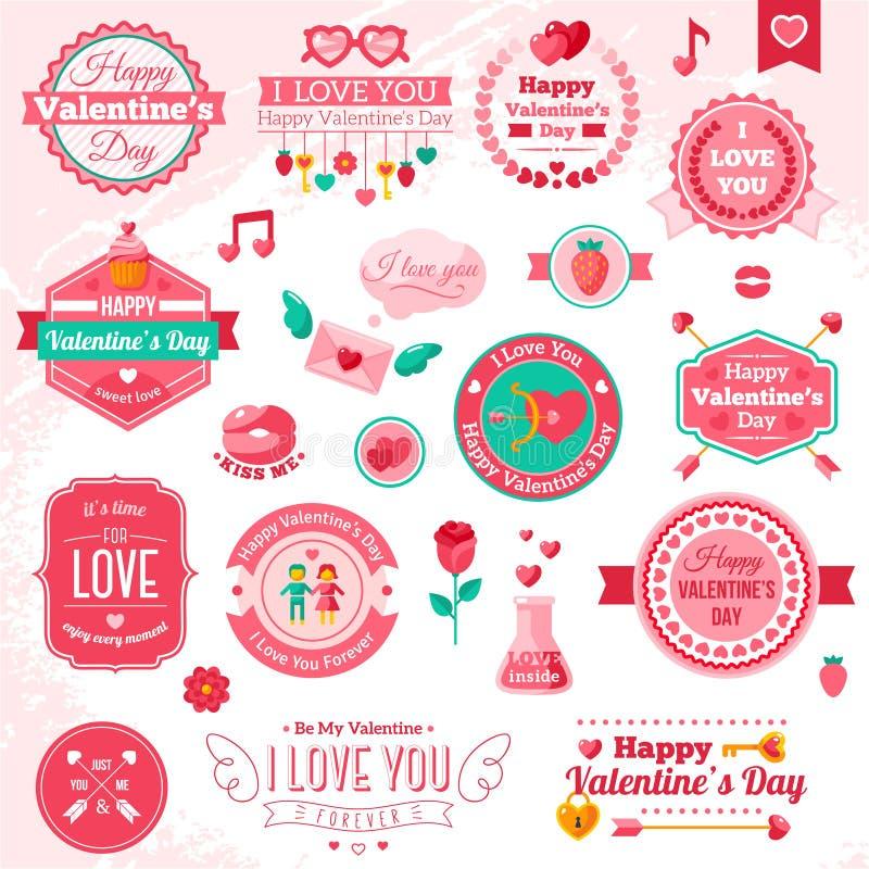 Satz Weinlese-glückliche Valentinstagausweise und vektor abbildung