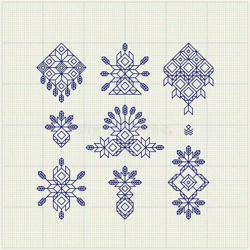 Satz Weinlese-grafische Elemente für Design Linie Art Design für Einladungen, Poster Lineares Element Geometrischer Stil lizenzfreie abbildung