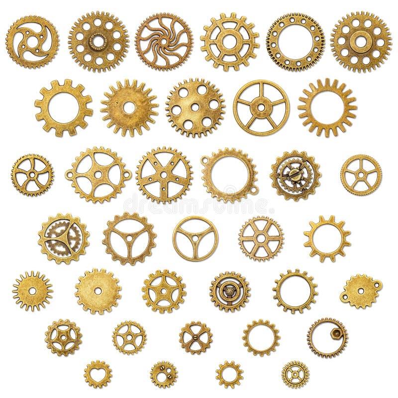 Satz Weinlese-mechanische Zahnrad-Gang-Räder lizenzfreie abbildung