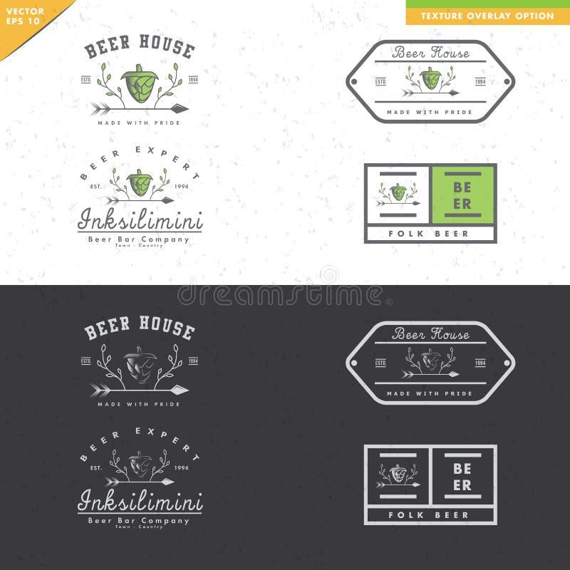 Satz Weinlesebier-Logodesign mit Blattverzierungen lizenzfreie abbildung
