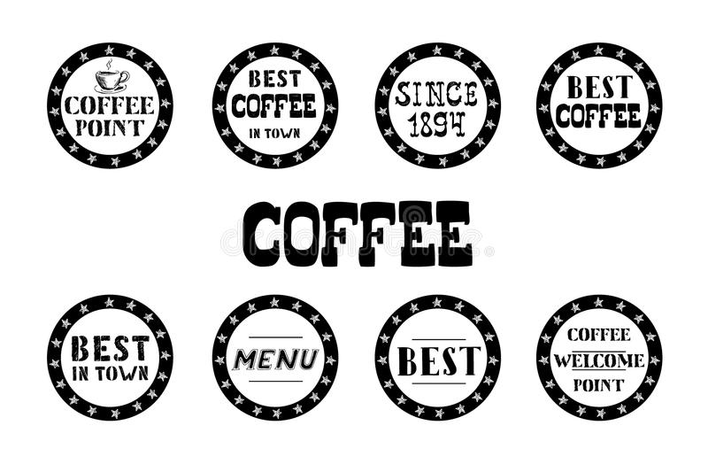 Download Satz Weinlesekaffeeaufkleber, Hand Gezeichnet Vektor Abbildung - Illustration von produkt, kunst: 106802642