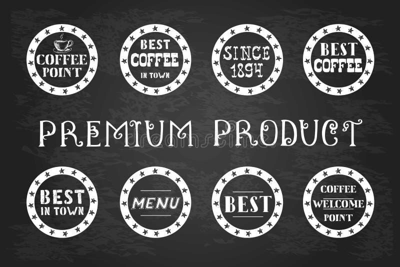 Download Satz Weinlesekaffeeaufkleber, Hand Gezeichnet, Vektor Abbildung - Illustration von abzeichen, erstklassig: 106802703