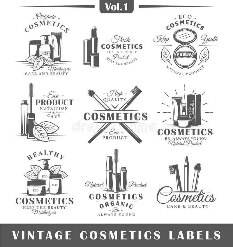 Satz Weinlesekosmetikaufkleber, Logos lizenzfreie abbildung