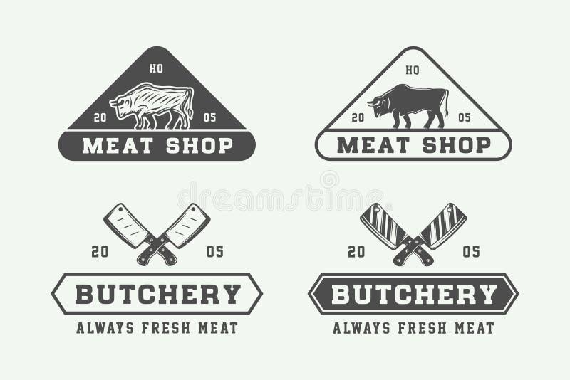 Satz Weinleseschlächterei Fleisch-, Steak- oder bbq-Logos, Embleme, Ausweis vektor abbildung