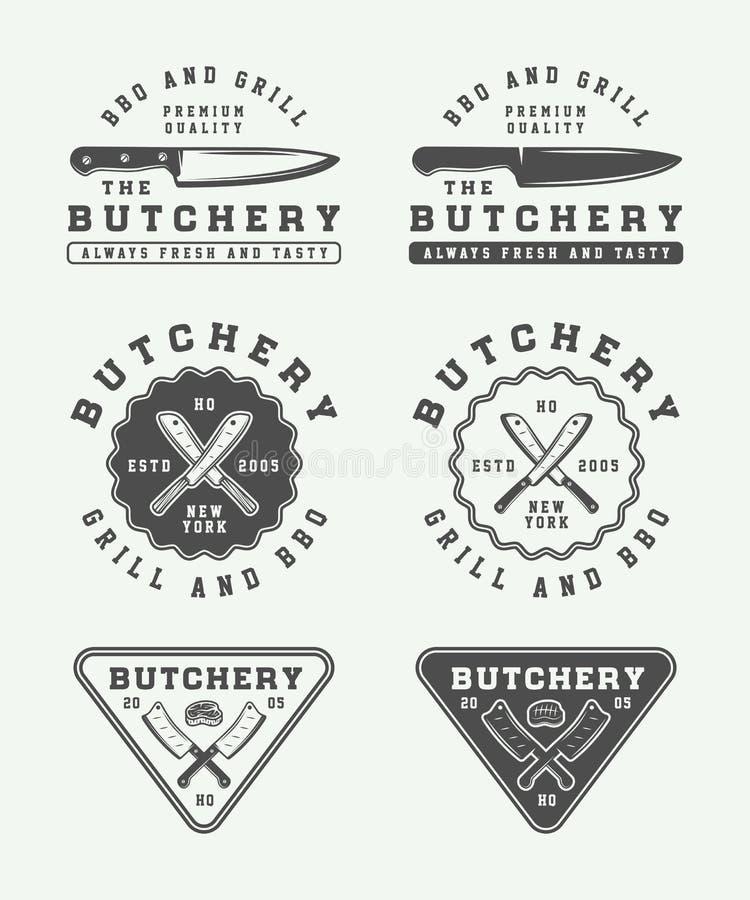 Satz Weinleseschlächterei Fleisch-, Steak- oder bbq-Logos, Embleme, Ausweis stock abbildung