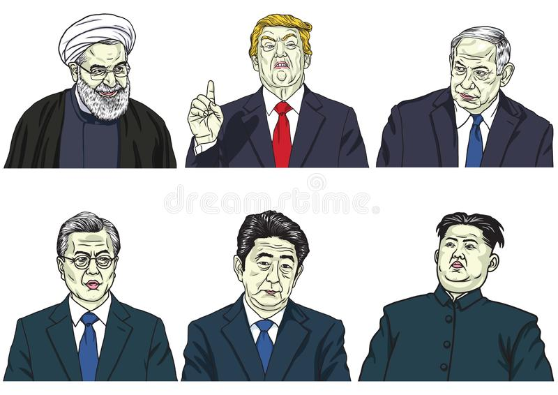 Satz Weltmarktführer Donald Trump, Hassan Rouhani, Benjamin Netanyahu, Mond Jae-in, Shinzo Abe, Kim-Jong-UNO Vektor-Karikatur Car lizenzfreie abbildung