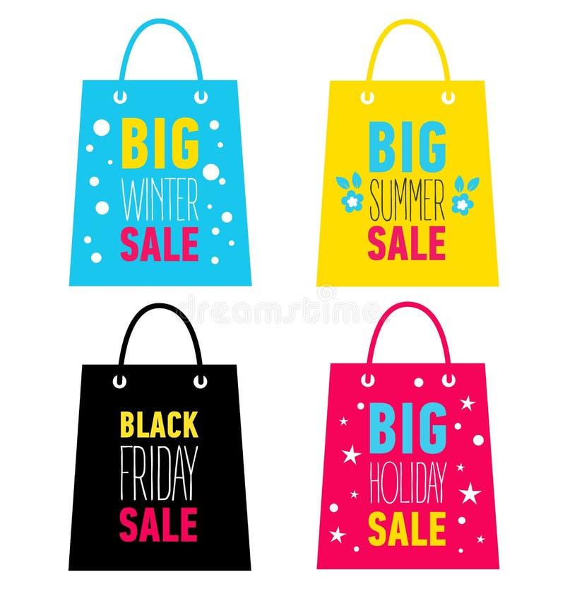 Satz Werbungseinkaufstaschen Großer Winter, Sommer, Feiertagsverkauf, schwarzer Freitag-Verkauf lizenzfreie abbildung