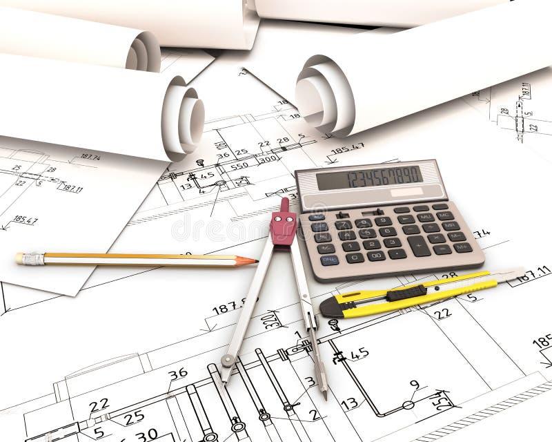 Download Satz Werkzeuge In Den Zeichnungen Des Architekten Stock Abbildung