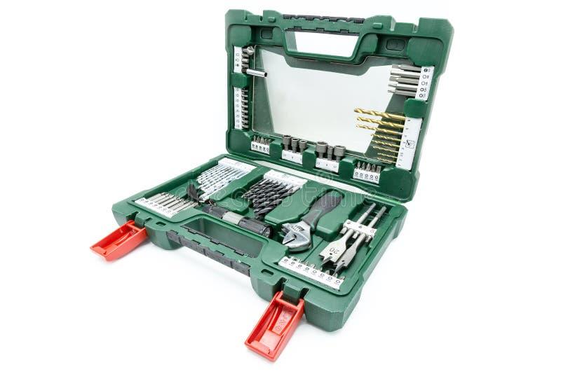 Satz Werkzeuge in einem Werkzeugkasten stockbilder