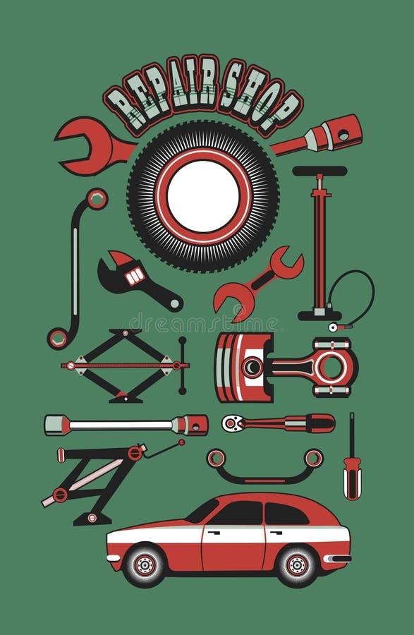 Satz Werkzeuge für die Reparatur von Autos vektor abbildung