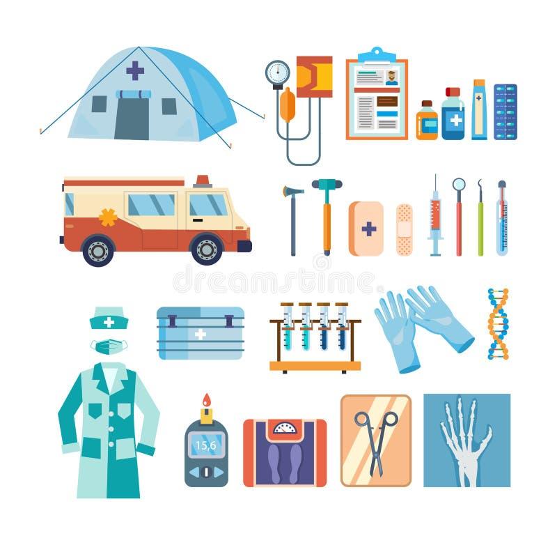 Satz Werkzeuge für medizinische Forschung, Behandlung, Arbeit in der Institution vektor abbildung