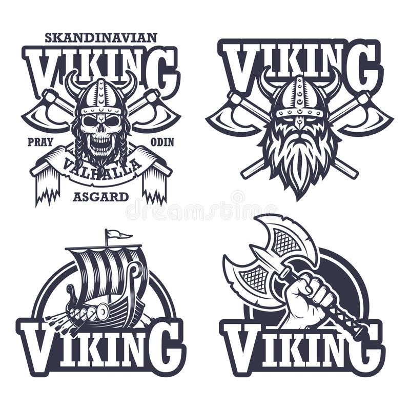 Satz Wikinger-Embleme stock abbildung