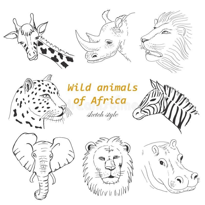 Satz wilde Tiere von Afrika in der Skizzenart stock abbildung