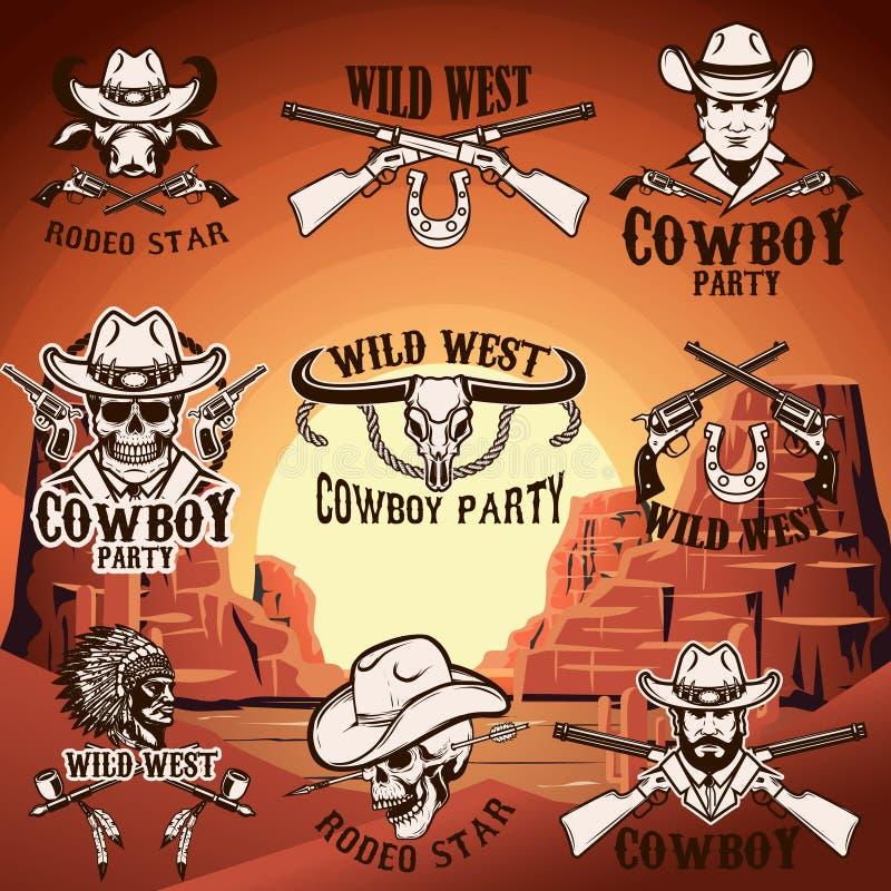 Satz wilde Westembleme auf Hintergrund mit Bergen Gestaltungselement für Logo, Aufkleber, Emblem, Zeichen stock abbildung