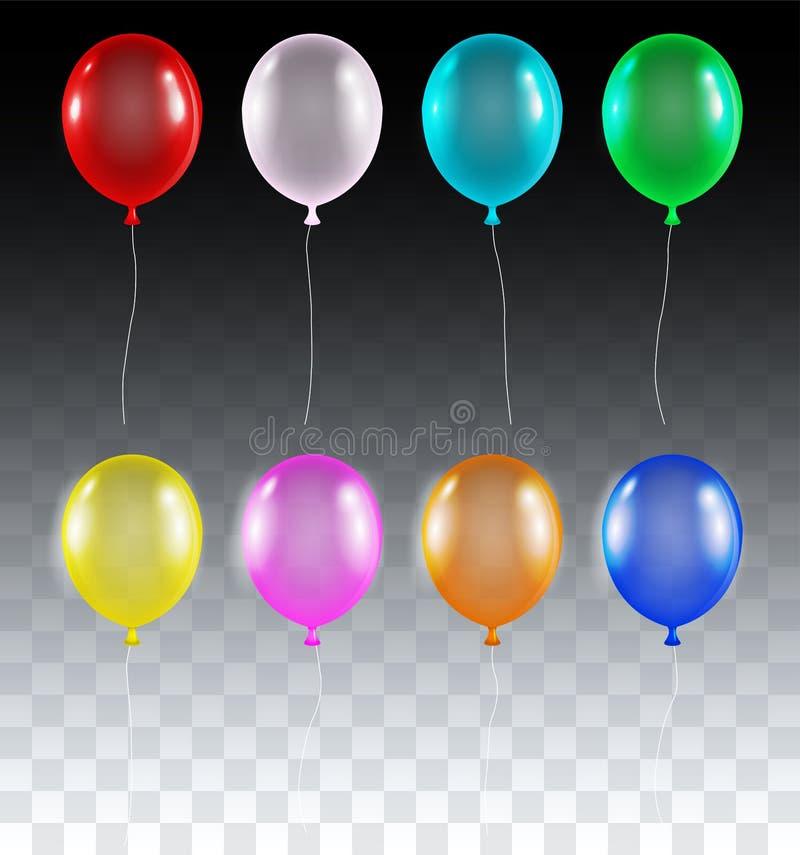 Satz wirkliches buntes transparentes Helium steigt Vektor im Ballon auf stock abbildung
