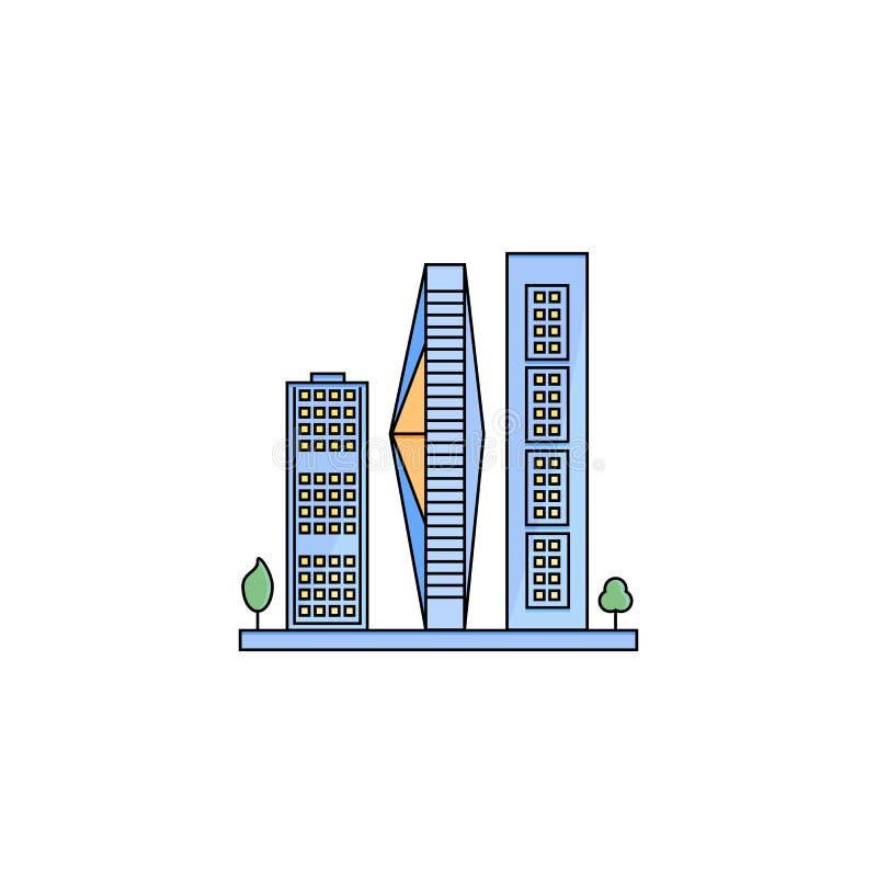 Satz Wolkenkratzer in der flachen Linie Design stockfoto