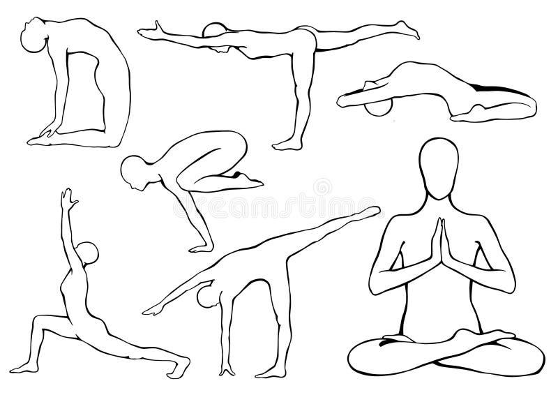 Satz Yoga asanas vektor abbildung. Illustration von schattenbild ...