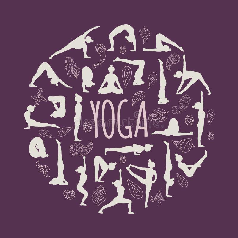 Satz Yogahaltungen lizenzfreie stockbilder