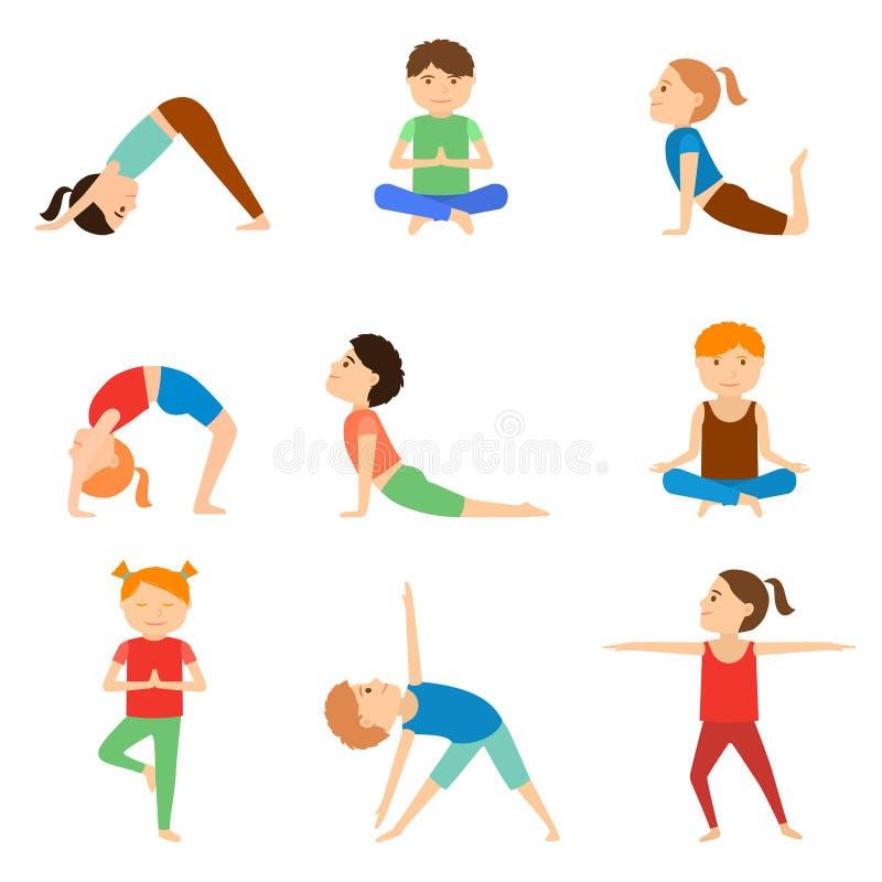 Satz Yogakinder lizenzfreie abbildung