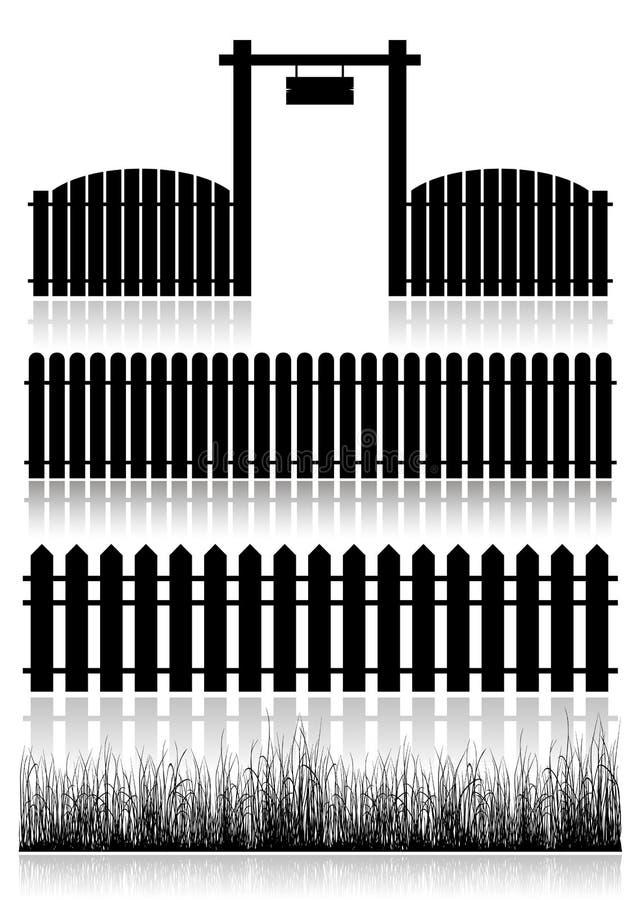 Satz Zäune, Tor und Gras stock abbildung