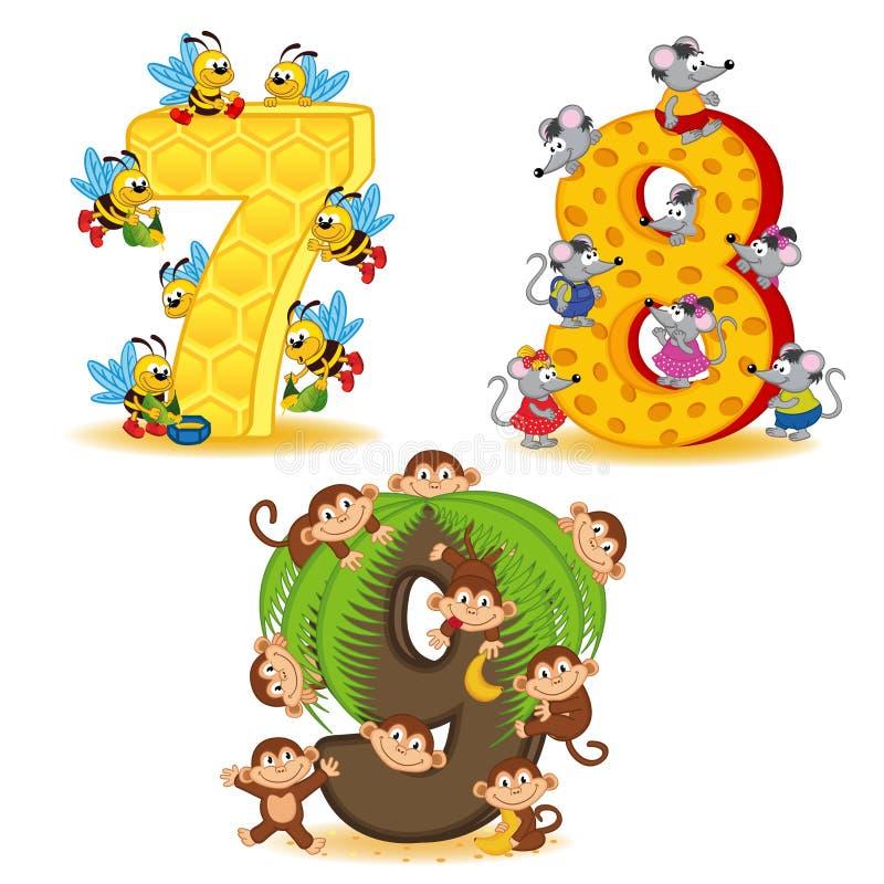 Satz Zahlen mit der Anzahl der Tiere von 7 bis 9 vektor abbildung