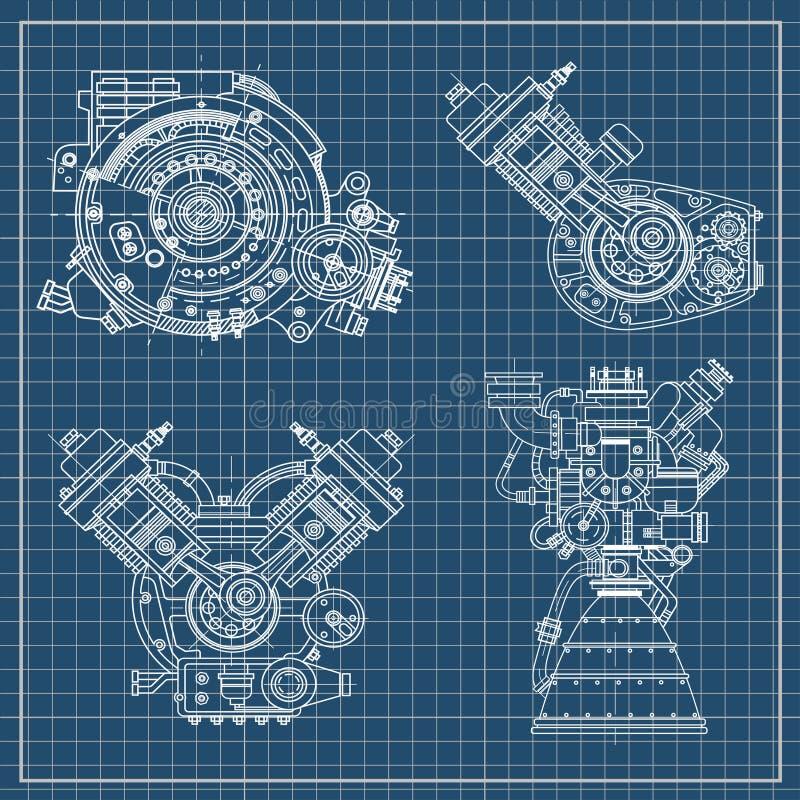Satz Zeichnungen von Maschinen - Kraftfahrzeugverbrennungsmotor, Motorrad, Elektromotor und eine Rakete Es kann stockfoto