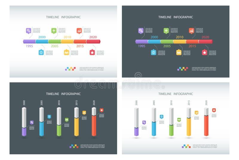 Satz Zeitachse Infographic-Design-Schablonen Isometrische Schablone 3d Säulengrafik Kastendesign infographic stock abbildung