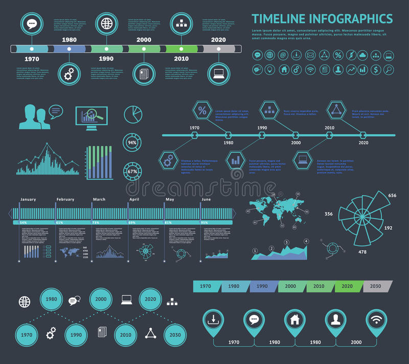 Satz Zeitachse Infographic mit Diagrammen und Text Vector Konzept-Illustration für Geschäftsdarstellung, Broschüre, Website usw. vektor abbildung