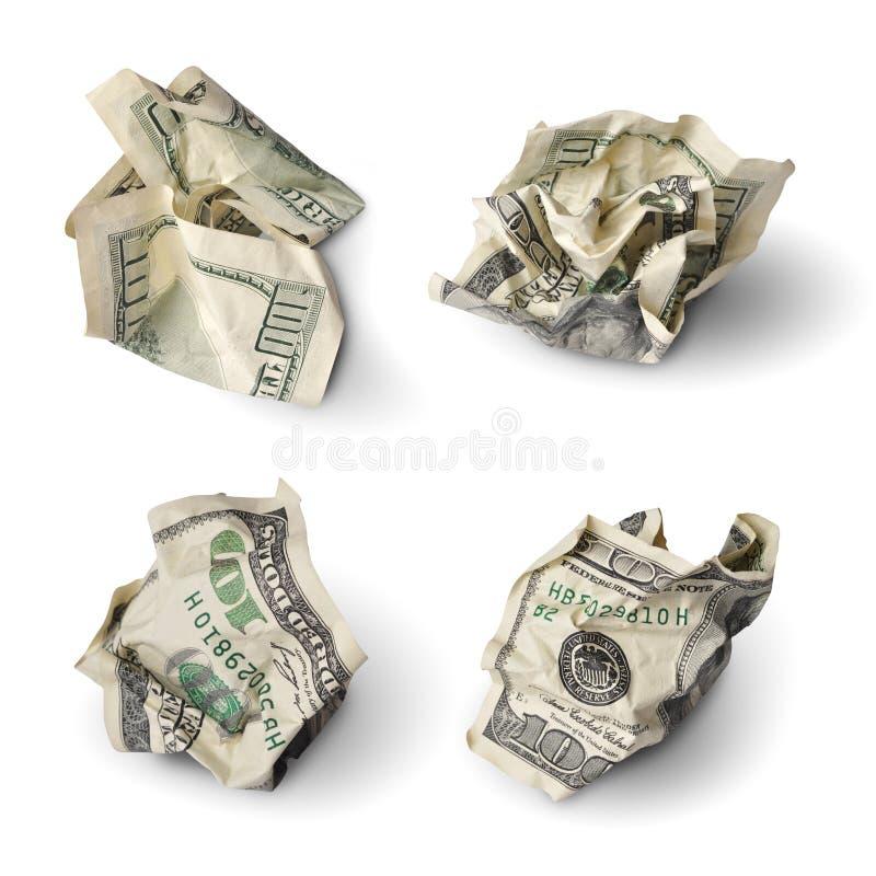 Satz zerquetschte Dollarscheine lizenzfreie stockfotos