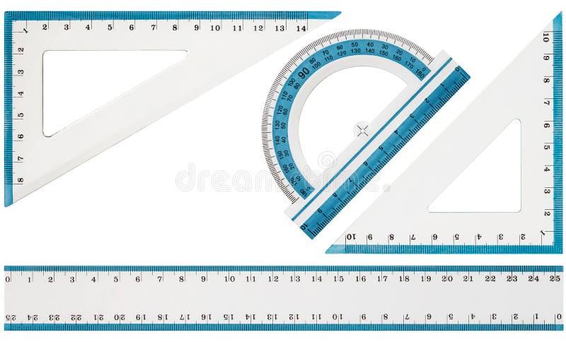 Satz Ziehwerkzeuge, Machthaber, Winkelmesserdreieck, lokalisiert auf weißem Hintergrund lizenzfreie stockbilder