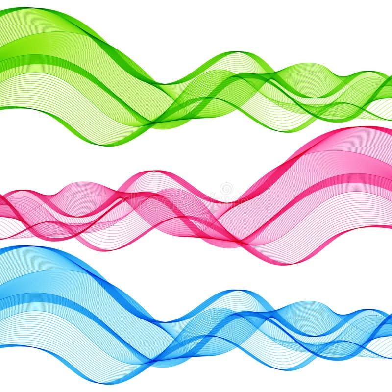 Satz Zusammenfassung lokalisierte grüne, rosa, blaue Wellen-Linien für Weiß lizenzfreie abbildung