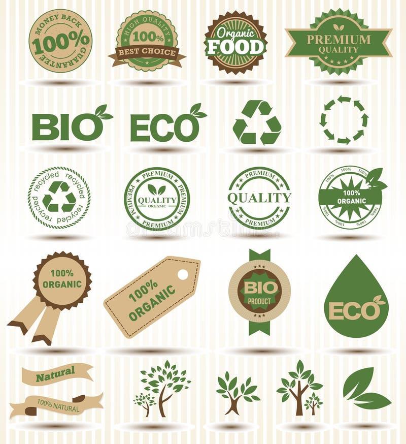 Satzaufkleber und Embleme von Ökologie und von Umwelt vektor abbildung