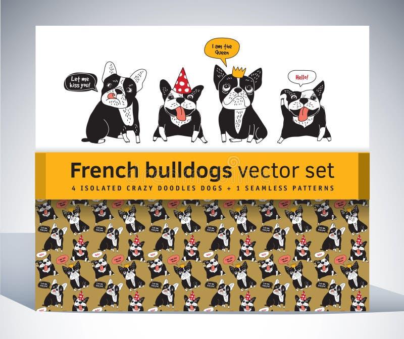 Satzcharaktermuster und -gegenstände der französischen Bulldogge gesetztes vektor abbildung