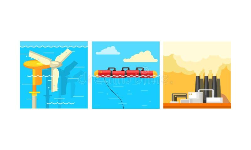 Sauber und Verschmutzungsenergiegewinnungsproduktion, Generatoren der alternativen Energie und Kraftwerkvektor Illustration stock abbildung