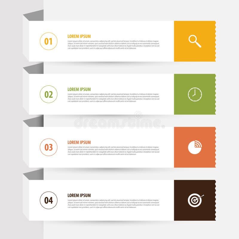 Saubere Fahnenschablone des Designs Infographics-Vektor mit Ikonen lizenzfreie abbildung