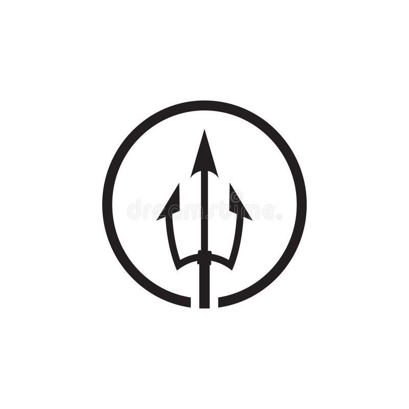 Saubere Illustration des Dreizackikonenschablonen-Designvektors lizenzfreie abbildung