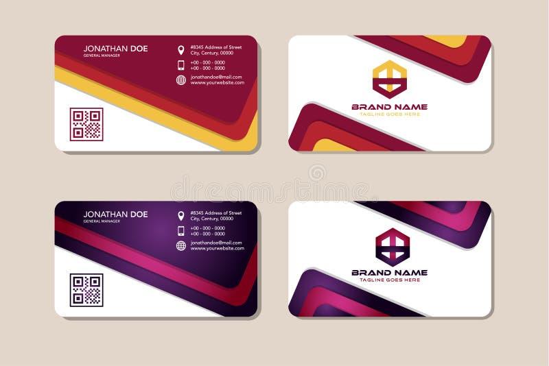 Saubere, moderne, flache Farbe Rot und Lila Unternehmenskarte, Identität stock abbildung