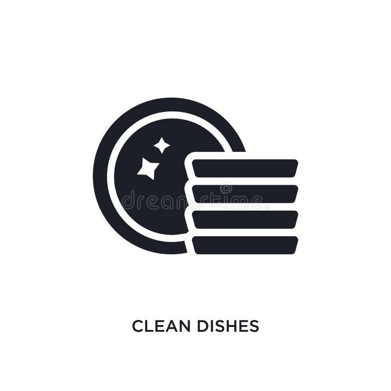 saubere Teller lokalisierte Ikone einfache Elementillustration von Reinigungskonzeptikonen Logozeichen-Symbolentwurf der sauberen stock abbildung