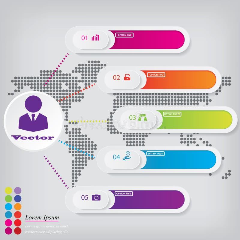 Saubere Zahlfahnen des modernen Designs mit dem Geschäftskonzept verwendet für Websiteplan Infographics stock abbildung