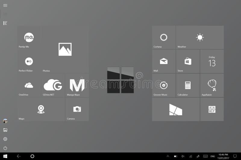 Sauberer und nobler Tablettenmodusanfangsschirm Windows 10 stockfoto