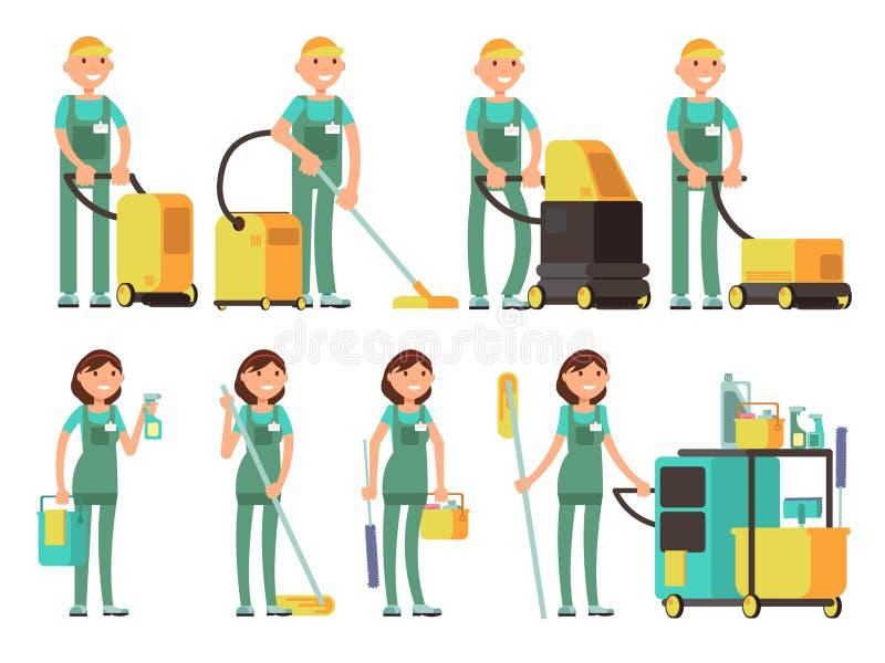Sauberere Vektorcharaktere mit Reinigungsanlage Reinigungsfirmenteam im einheitlichen Vektorsatz stock abbildung