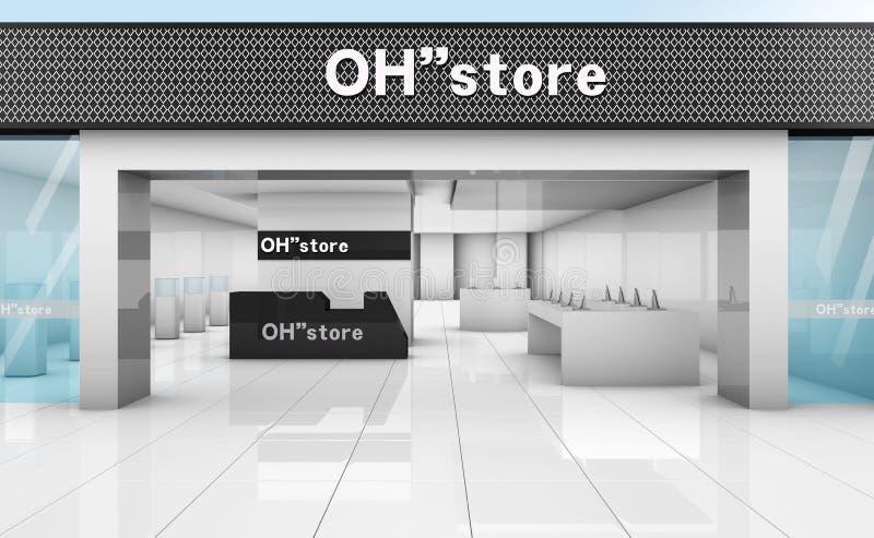 sauberes Themenkaufhaus der einfachen Mode der Illustration 3D lizenzfreies stockfoto