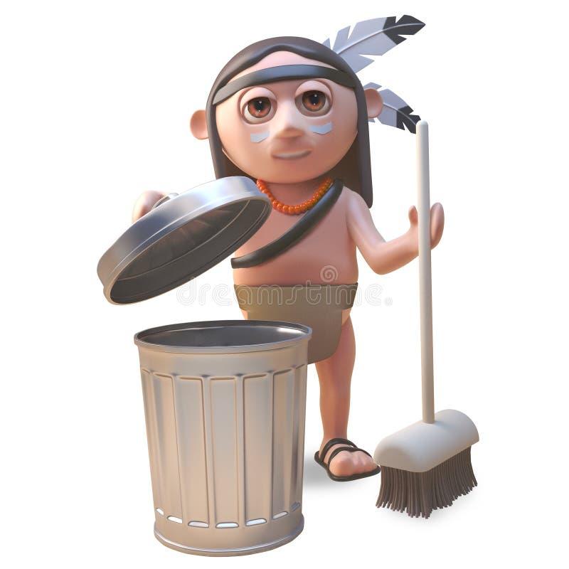 Sauberes und sauberes gebürtiges indianisches Kehren mit einem Besen, Illustration 3d lizenzfreie abbildung